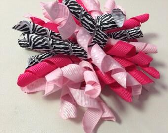 Pink, Hot Pink & Zebra Print Korker Ribbon Hair Clip