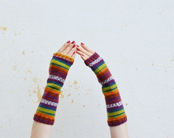 Long knit fingerless gloves, wool mittens, multicolored arm warmers