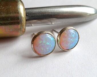 opal earrings, stud earrings, opal jewelry, sterling silver earrings