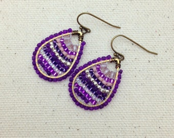 Purple and Pink Colorful Woven Earrings Wire Wrapped