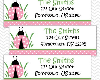 Lady Bug Pink and Green   - Personalized Address labels, Stickers, Baby Shower, Birthday