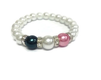 MOTHERS BIRTHSTONE Bracelet / Made To Order/ Personalized Bracelet/ Glass PEARLS