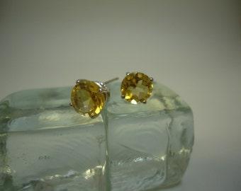 Round Cut Citrine Earrings in Sterling Silver   #846