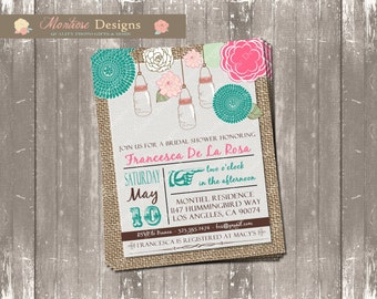 Shabby Chic Mason Jar Bridal Shower Invite (Burlap, Pink, Blue, Green) DIGITAL FILE