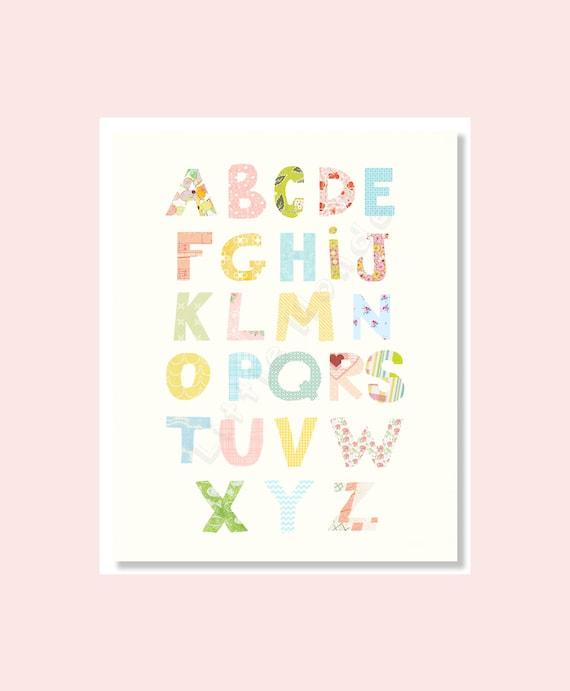 Baby Nursery Art Print Dog Abc Nursery Decor Alphabet Print