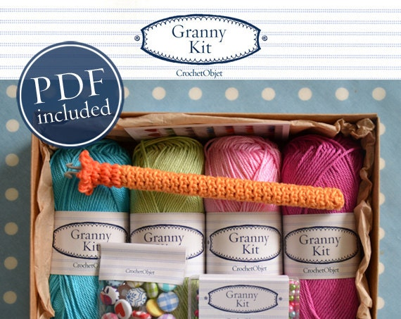 Crocheting Kit : Granny Kit Crochet Kit Colourful Fun Box by CrochetObjet on Etsy