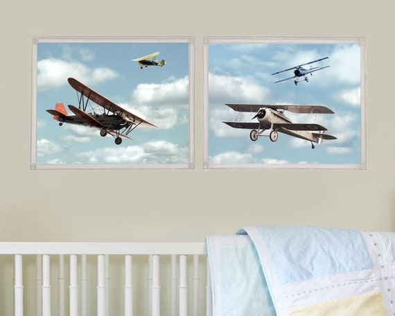 Vintage French Aircraft - Set of Two Photos - Dreamy Nursery Kids Room Decor Children Boys Flying Flight Airplane Air Plane Ride Aviation