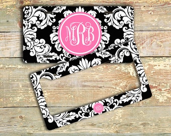 Pretty vanity license plate or frame , Black white damask hot pink initials, Monogrammed custom car tag pretty bicycle license plate  (9759)