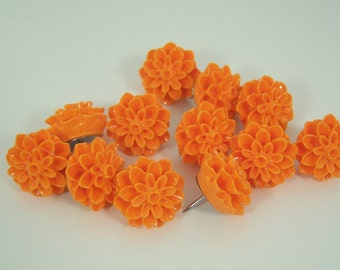 12 Orange Flower Push Pins