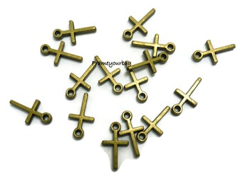50 simple, tiny cross charms, antiqued Brass, Pendant 12mm -  P48