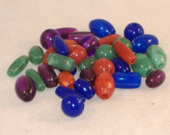 14 - 19 mm Round & Oval Acrylic Beads - Cool Colllection - Reds, Oranges, Greens, Blues, Purple - 35 Pcs - DESTASH