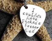I Couldn't Have Picked a Better Dad Men's Personalized Keychain Guitar Pick Keychain