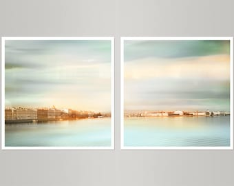 Large Minimalist wall art set of 2 prints, Pastel mint living room decor, City landscape print set photography, 20x20 24x24, St. Petersburg