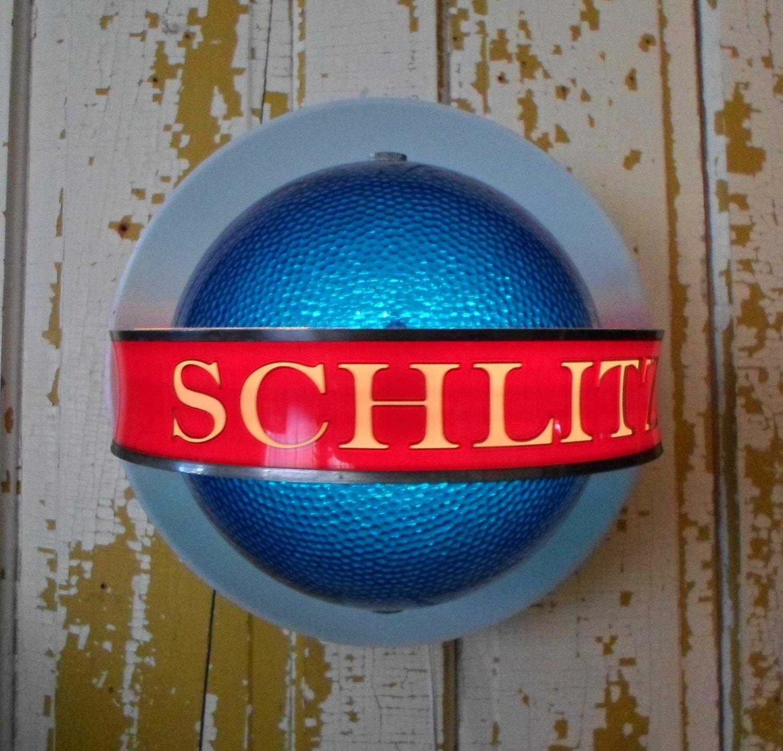 Schlitz Beer Sign Revolving Globe Bar Man Cave