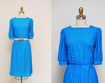 Vintage 80s Teal Blue Pin Stripe Dress / Short Sleeve Poly Dress / Elastic Waist