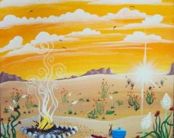 Wandering Nomad Desert Sunset Painting 20X20
