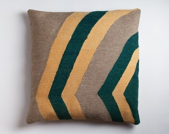 Large Kilim Pillow - Handwoven Wool Sham Brooklyn Designed Turkish Made