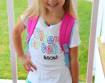 Girls  Preschool Kindergarten First Grade Second Grade Third Grade Rocks Back To School Shirt Skirt Set BRIGHT Colors
