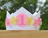 Felt Flower Crown, Birthday Crown, First Birthday, Rainbow, Pastels, Girl