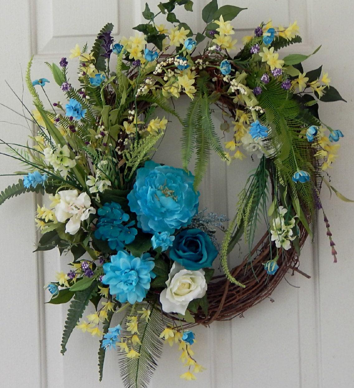 summer turquoise silk floral grapevine wreath berries wild