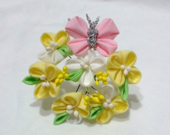 Canola blossoms (Nanohana) - small Maiko tsumami kanzashi hair ornament- March motif