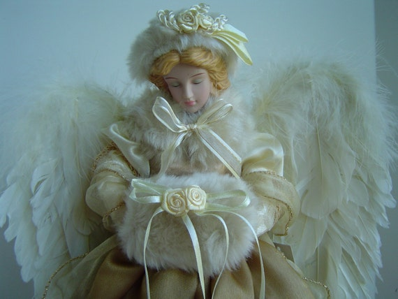 Vintage Christmas Tree Porcelain Angel Doll Topper