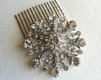 silver hair comb, Bridal hair comb, Art Deco mad men 1950s 1960s modern flower hair large wedding bridal comb MID CENTURY SNOWFLAKE Silver
