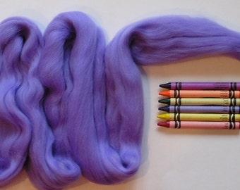 MERINO WOOL ROVING / Periwinkle Purple 1 ounce / 21.5 micron merino fiber for wet felting, nuno felting, needle felting, dreadlocks, dolls