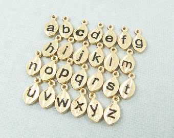 Set of 10 Add a Charm, Tiny Gold Initial Charm, Personalized Letter Add On Charm, Gold Leaf Initial Charm, Gold Alphabet Charm