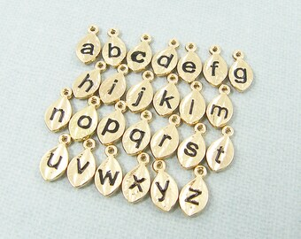 Add a Charm, Tiny Gold Initial Charm, Personalized Letter Add On Charm, Gold Leaf Initial Charm, Gold Alphabet Charm