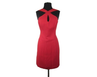 1980s Short Red Bodycon Wiggle Dress with Criss Cross Straps and Peek-a-boo Bust - Sexy Femme Fatale Vamp Vegan