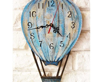 The Blue Balloon, Modern wall clock with numbers, White wall clock, wood clock, kids gift, wedding gift, for Office, Industrial style.