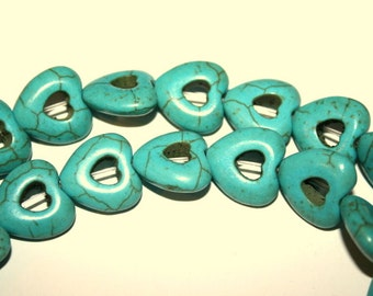 Full Strand of Turquoise Blue 15 mm Hollow Heart Gemstone Beads