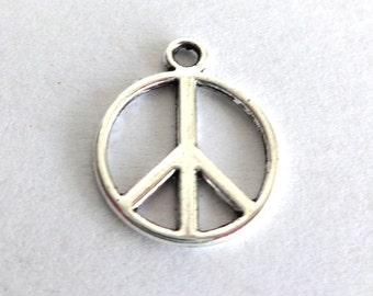 6 Silver Peace Sign Charms/Pendants CS-0011