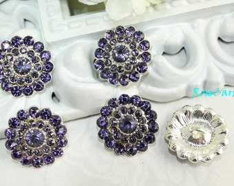 5 Violet Purple Crystal Button Rhinestone - Shank Button - Coat Button - Metal Silver Button - Large Button Ornament Button Lot  Diy