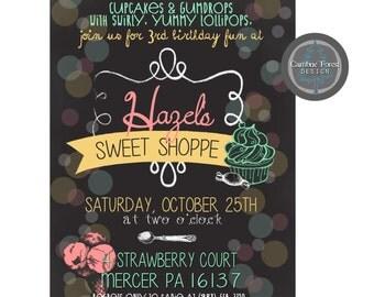 Custom Birthday Party INVITATION DESIGN - Sweet Shoppe