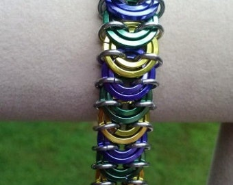 Vertebrae Bracelet Purple Yellow Green and anodized aluminum Chain Maille chainmail renaissance Faire