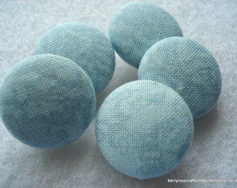Handmade Fabric Buttons 19mm Aqua Fabric Buttons Pack of 5 Aqua Buttons