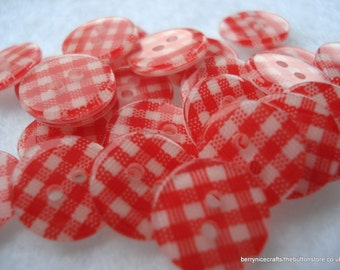 13mm Resin Buttons, Red Check Buttons, Pack of 25 Red Buttons, A44