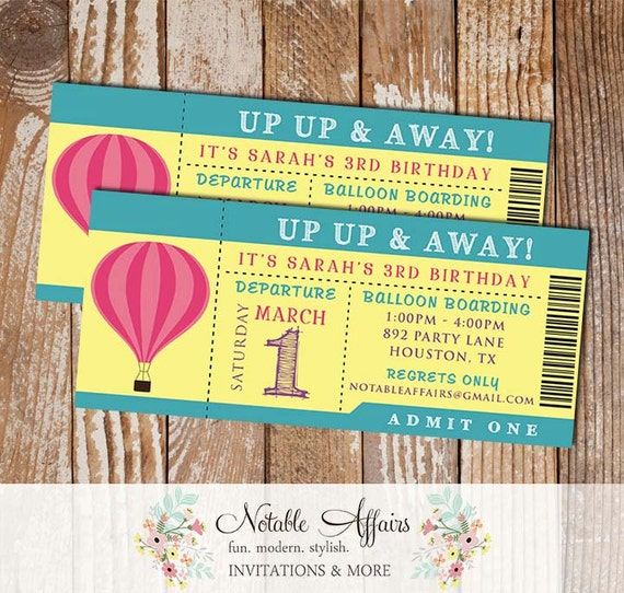 Up up away hot air balloon girl birthday party ticket invitation il570xn stopboris Choice Image