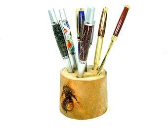 rustic pen / pencil holder or desk organizer wooden holder