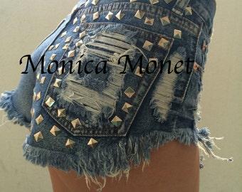 CLEARANCE High Waisted Destroyed Denim Studded Cutoffs Jean Shorts