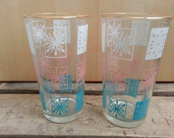 Vintage Glasses  Retro Glasses,  Set of Two, Midcentury Glassware