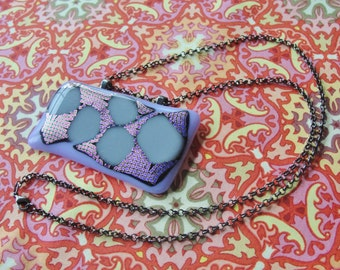"Tumbling Blocks Dichroic Glass Fused Glass Pendant Necklace 24"" Gunmetal Chain Owl Bails Lilac Pale Blue Gray"