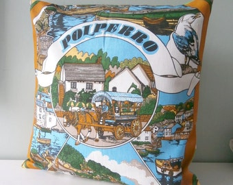 Nautical Polperro Harbour Vintage Cushion / Pillow cover Upcycled Teatowel