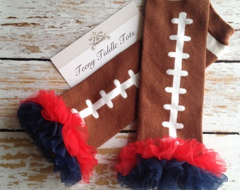 Football Leg Warmers with Red and Navy Blue Ruffles, Football Leg Warmers, Baby Leg Warmers, Brown Leg warmers with Ruffle