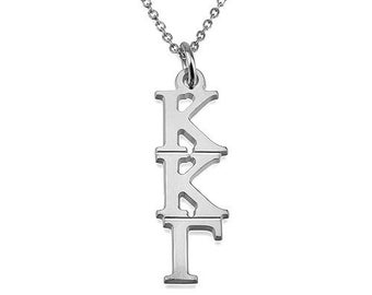 Sorority Necklace Personalized Necklace - Greek Sorority Initial Necklace Sorority Charm, Sorority Gifts 925 Sterling silver