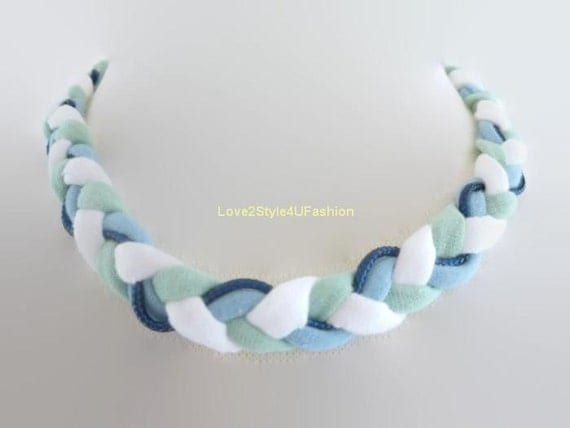 Women Headband Hair Accessories & Necklace 2 in 1 Fashion Hipster Braided Knotted Necklace Jewelry-Love2Style4UFashion-White/Mint/Blue
