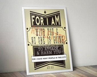 Acts 18:10 Bible Verse Retro Vintage Typography Poster 16x20 For I am with you and no one is going to attack and harm you for I have many...