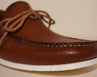 Tobacco Handmade Leather Boat Shoes (Moccasins)